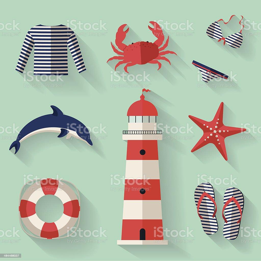 Set of sea and beach flat icons. Vector illustration. vector art illustration