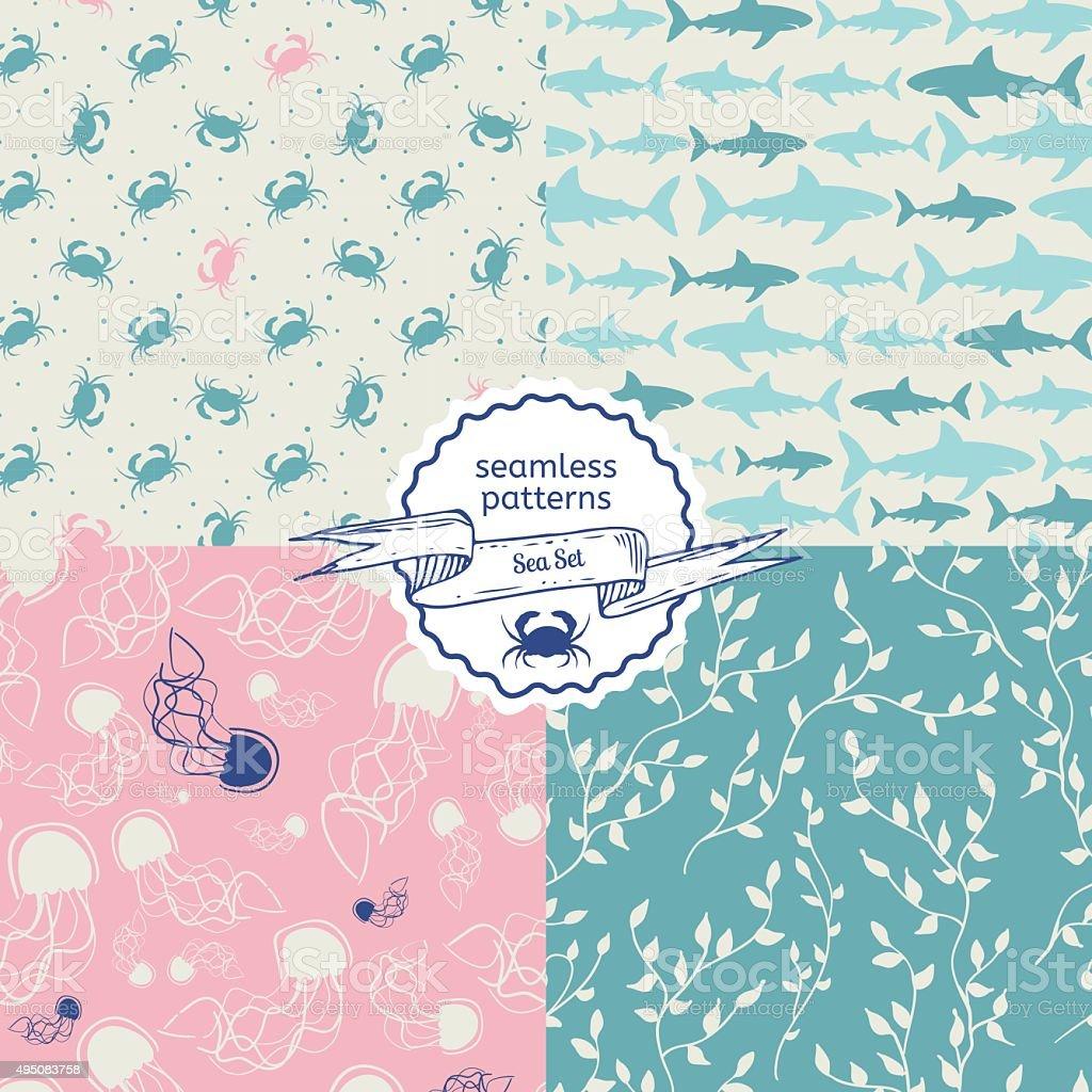 Set of sea creatures seamless pattern vector art illustration