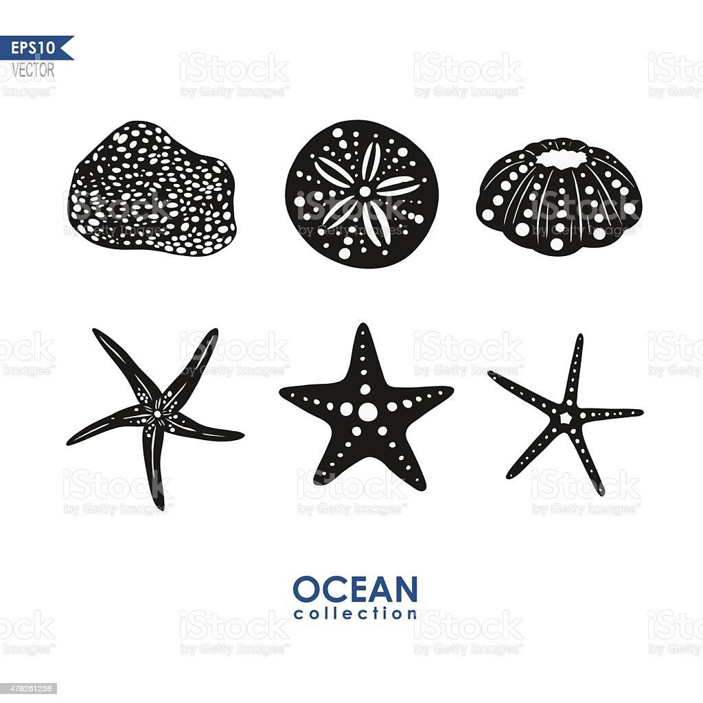 set of sea creatures vector art illustration