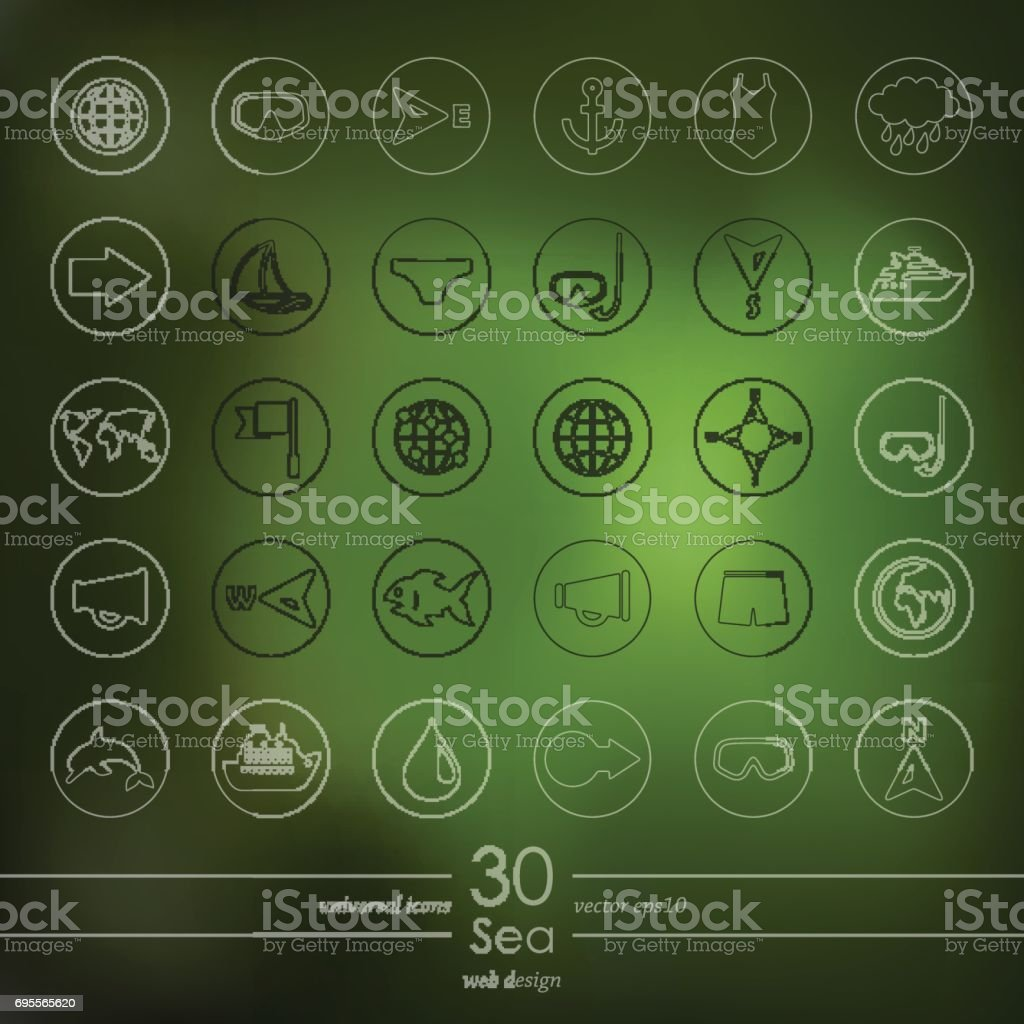 Set of sea icons vector art illustration