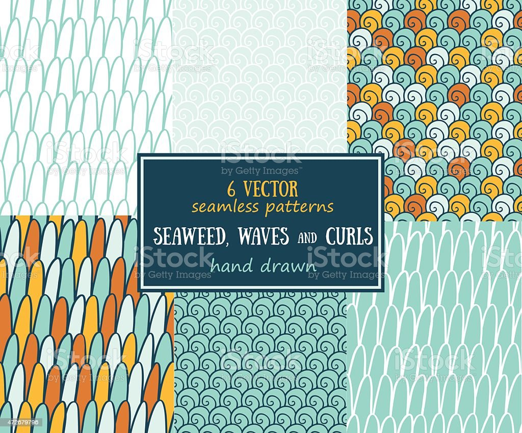 Set of sea seamless patterns (tiling) vector art illustration
