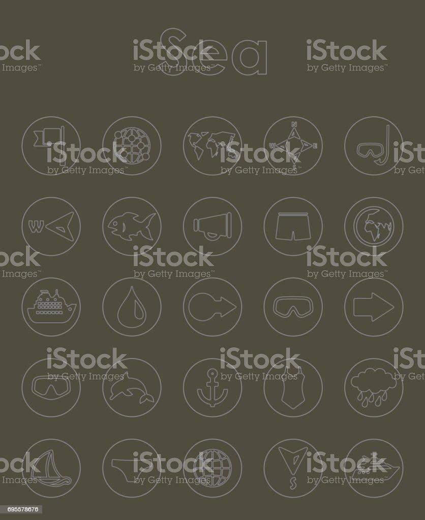 Set of sea simple icons vector art illustration