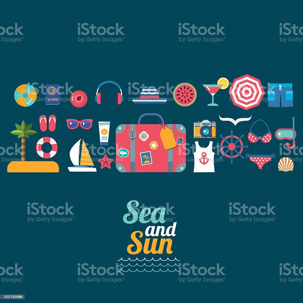 set of sea travel vector flat icons vector art illustration