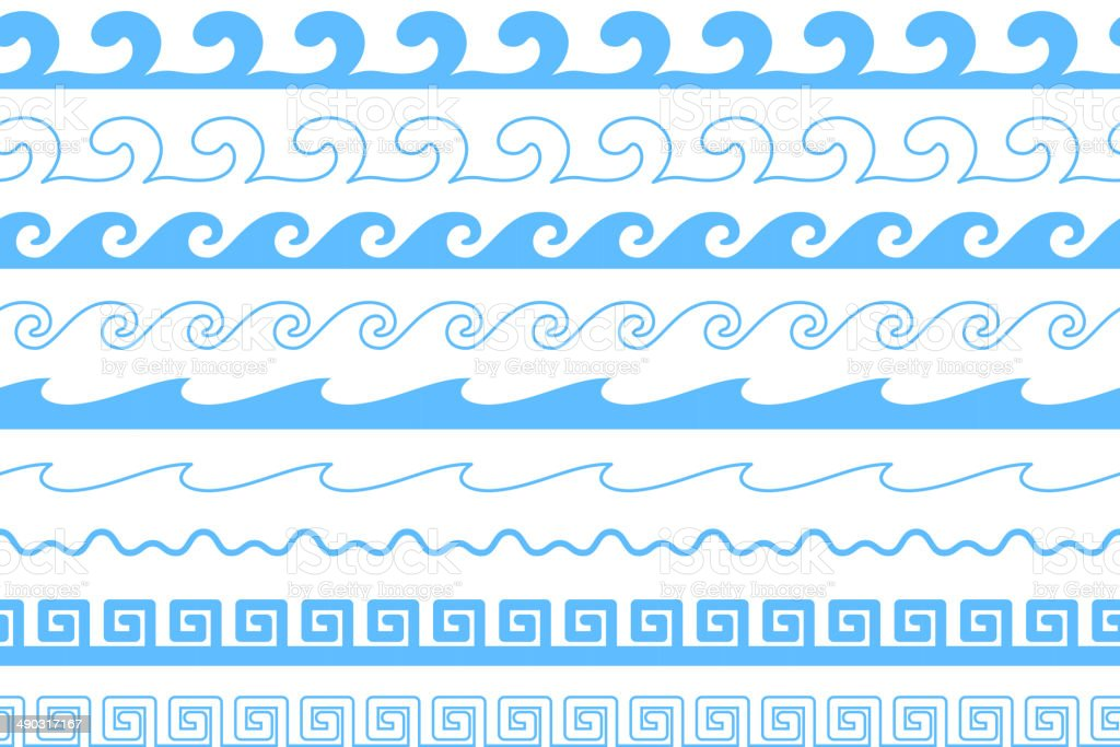 Set of sea waves brushes. Wavy borders. vector art illustration