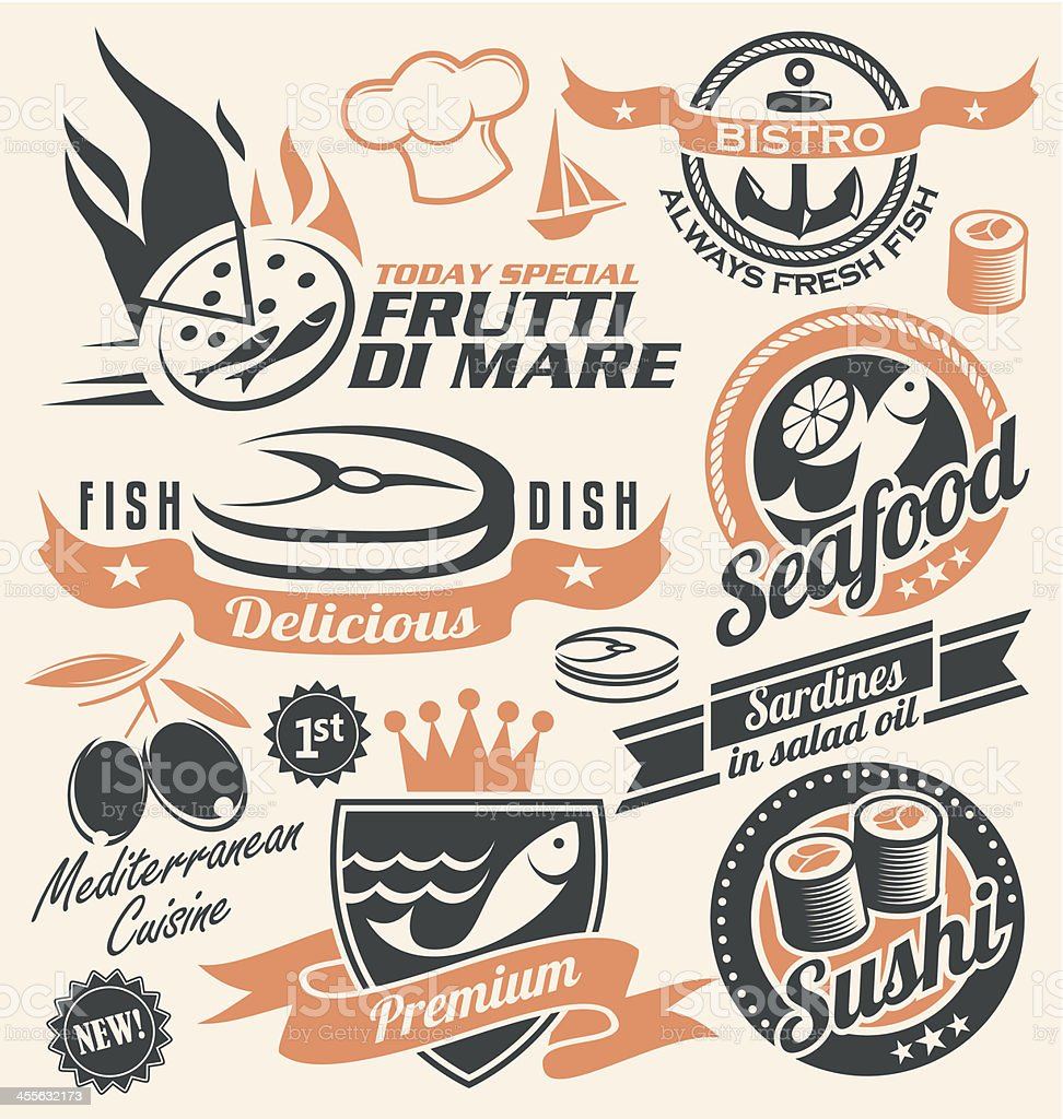 Set of seafood icons, symbols, logos and signs vector art illustration