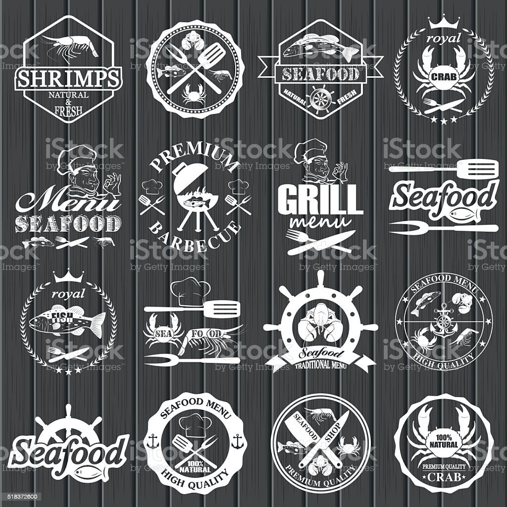 set of seafood labels and signs vector art illustration