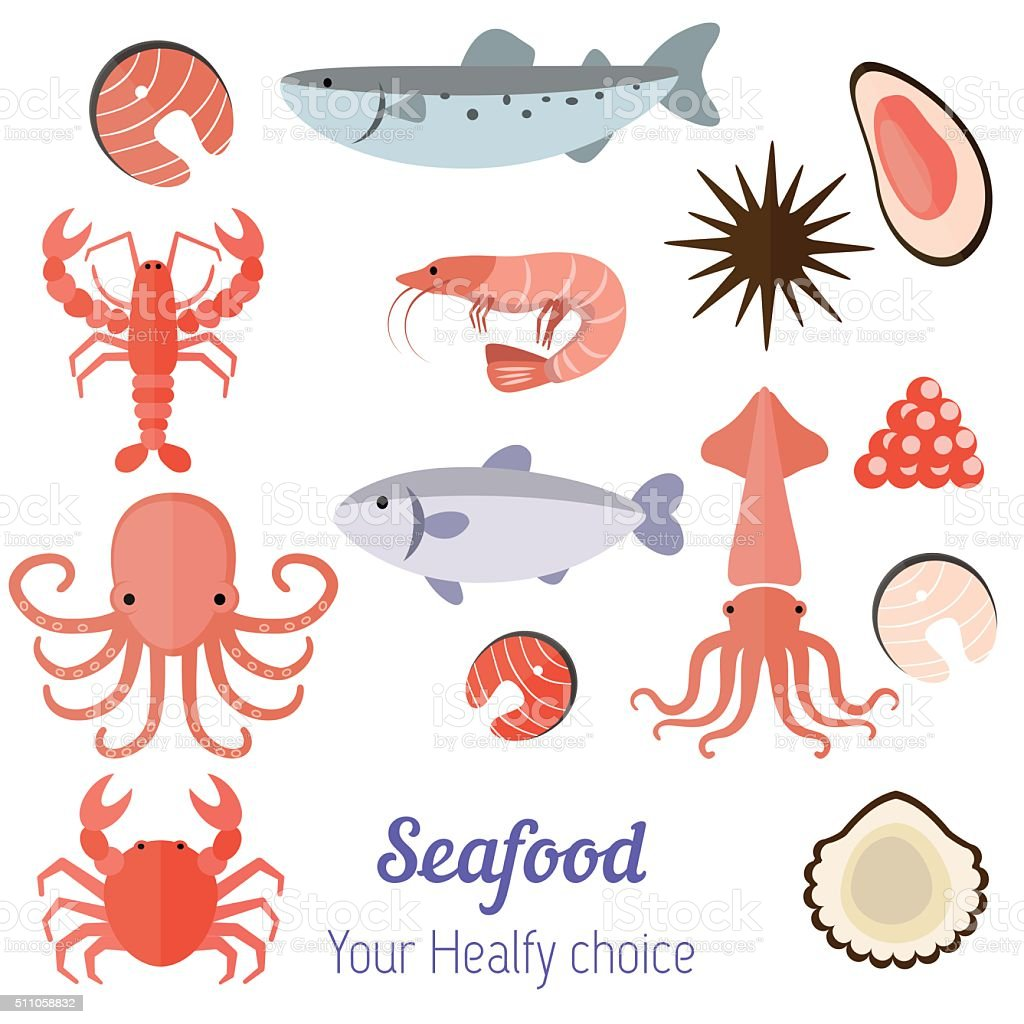 Set of seafood products vector art illustration