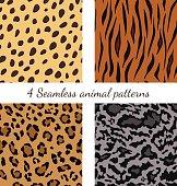 Set of seamless animal patterns
