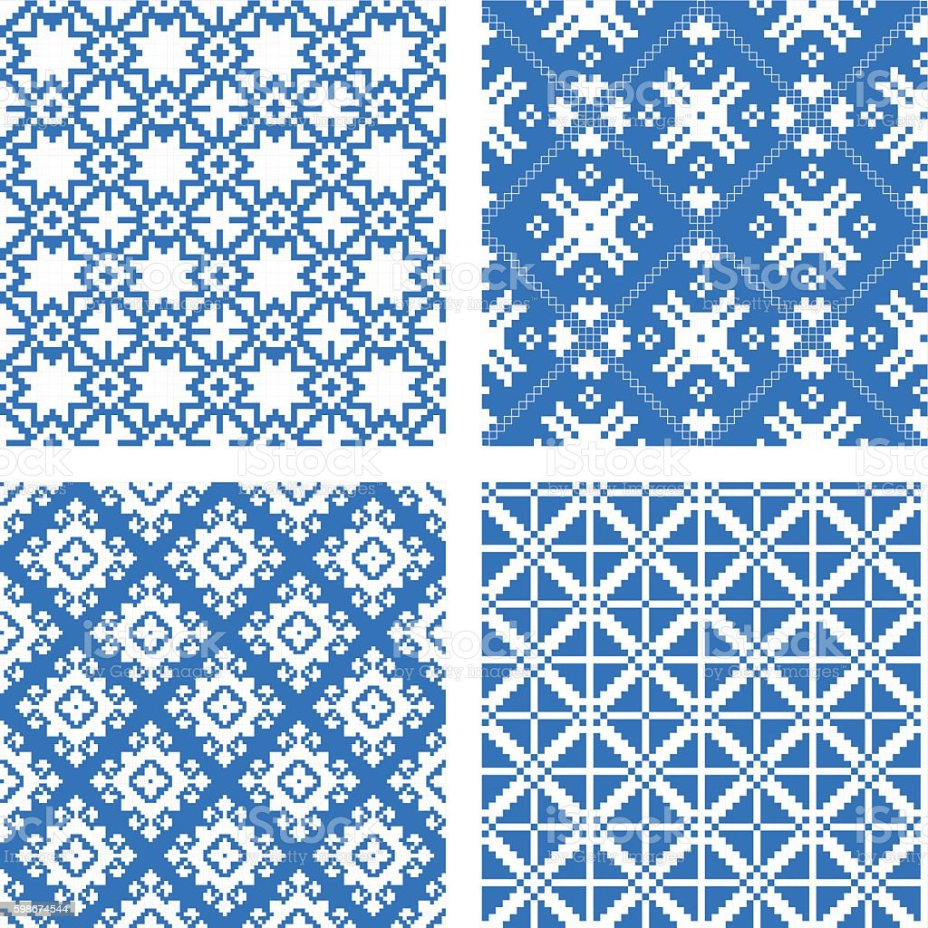 set of seamless background with ethnic patterns. vector art illustration