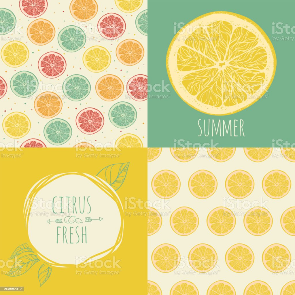 Set of seamless backgrounds. Slices of citrus fruit. vector art illustration