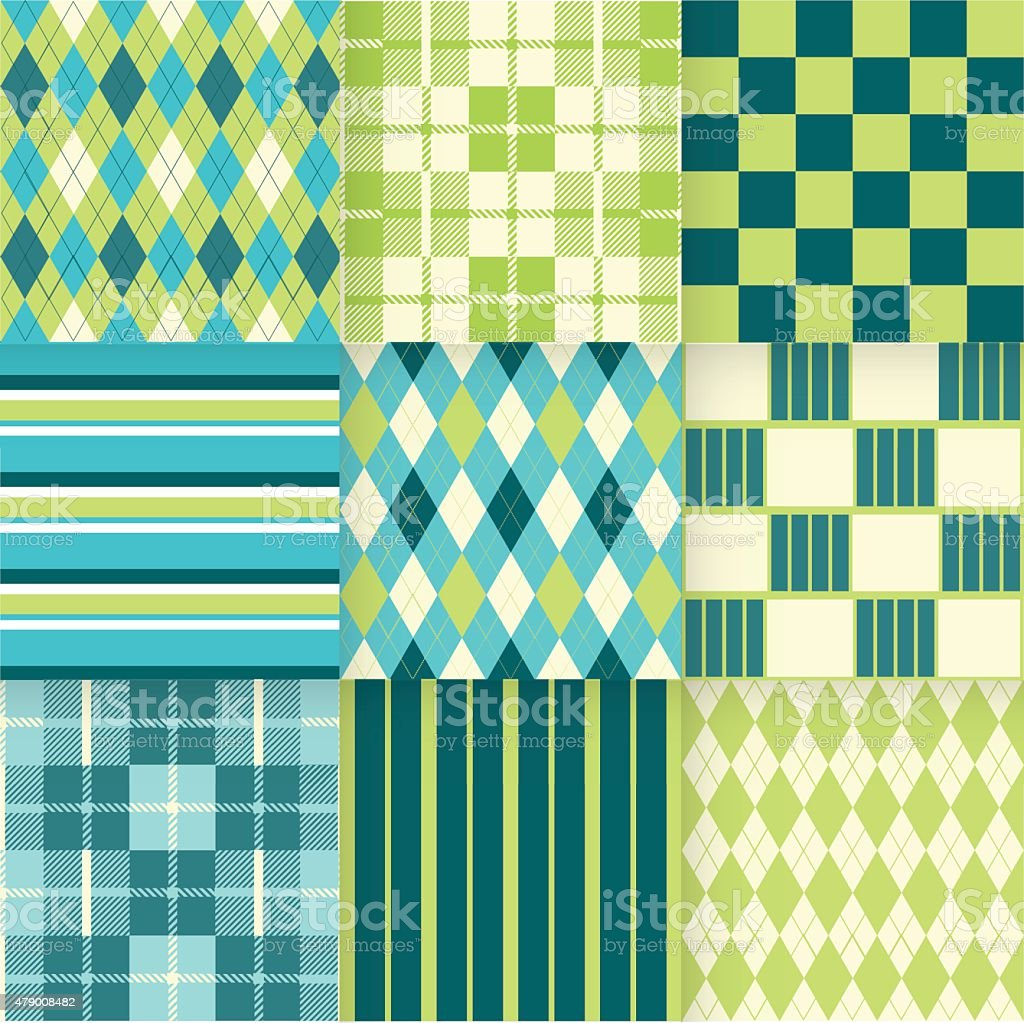 Set of seamless backgrounds with pattern striped, chess, checkered. vector art illustration