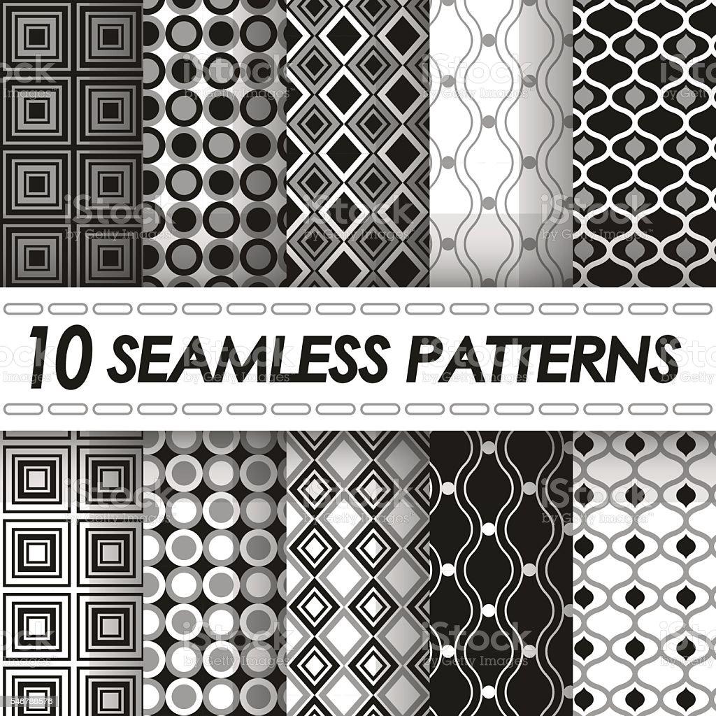 set of seamless black and white geometric patterns vector art illustration