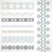 Set of seamless borders. Vector ethnic ornaments.