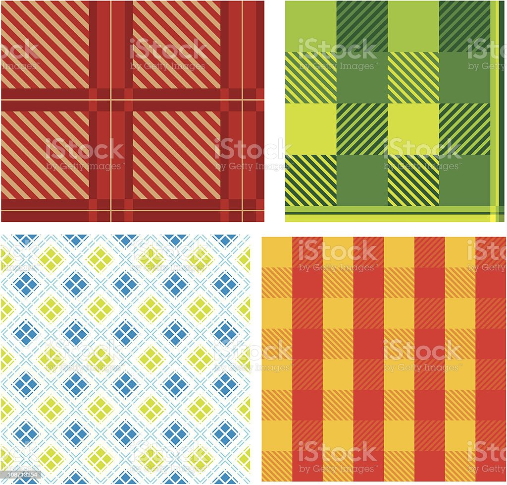 Set of seamless checked ornaments royalty-free stock vector art