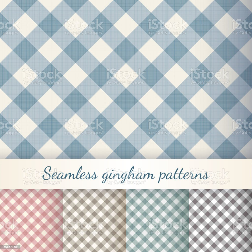 Set of seamless checkered gingham patterns vector art illustration