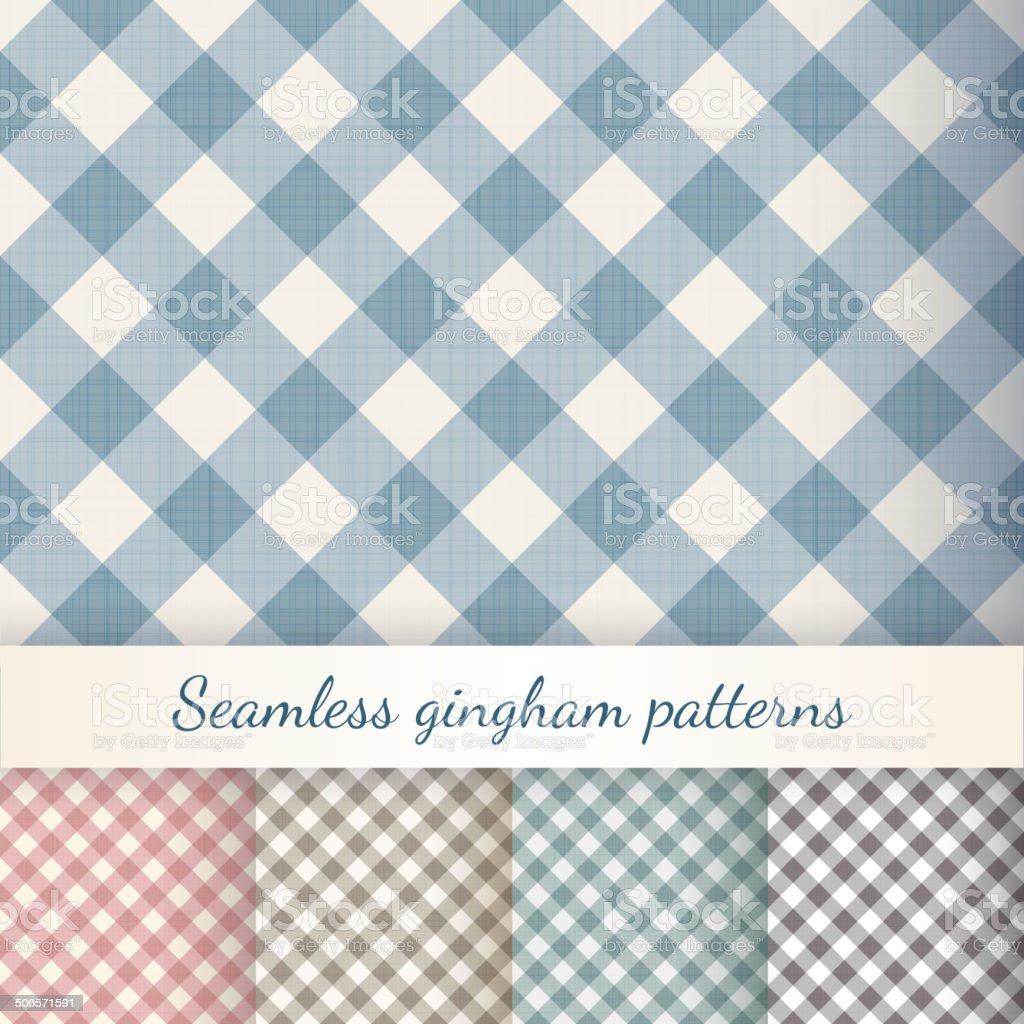 Set of seamless checkered gingham patterns vector art illustration