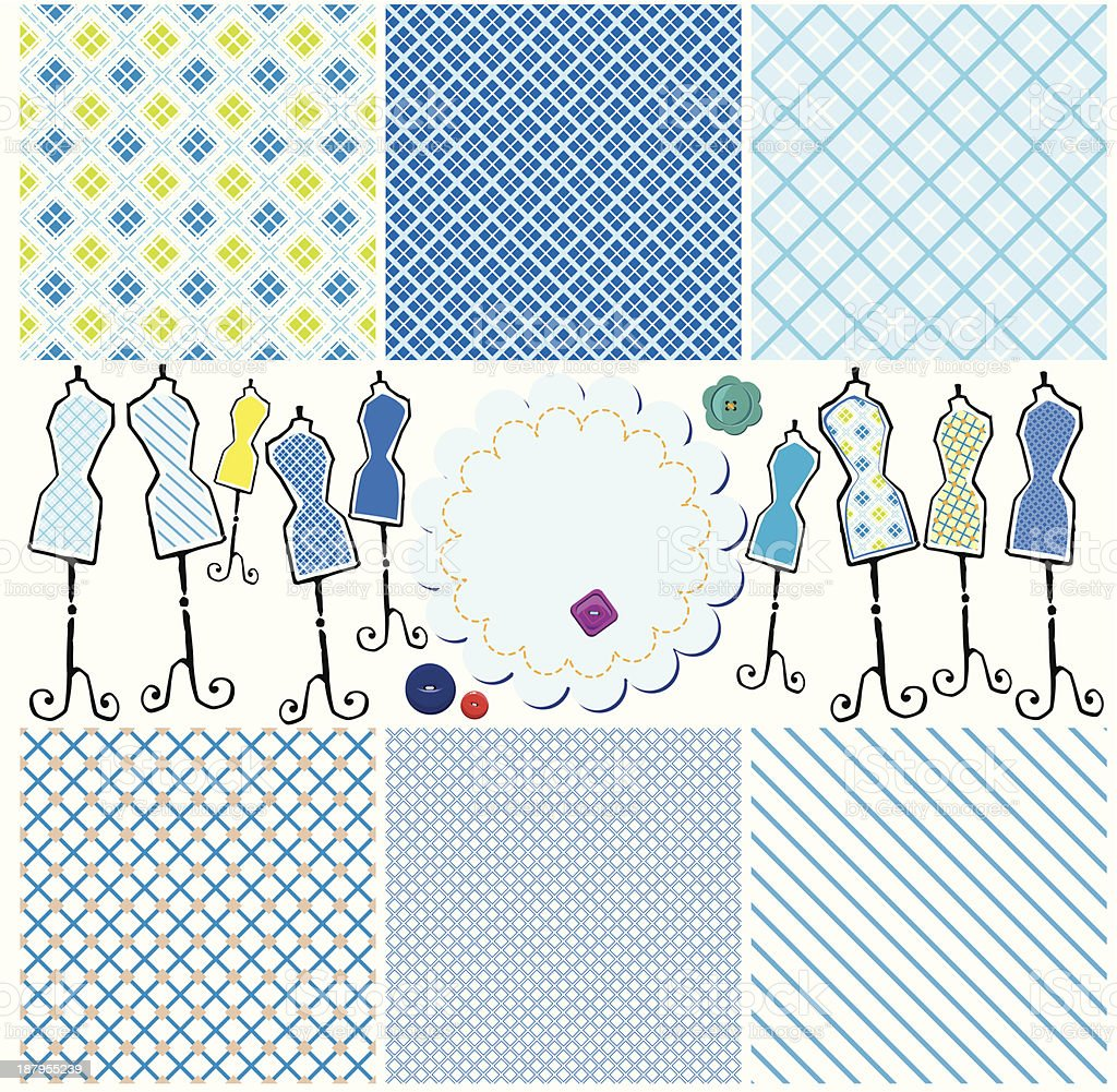 Set of Seamless checkered patterns and mannequins royalty-free stock vector art