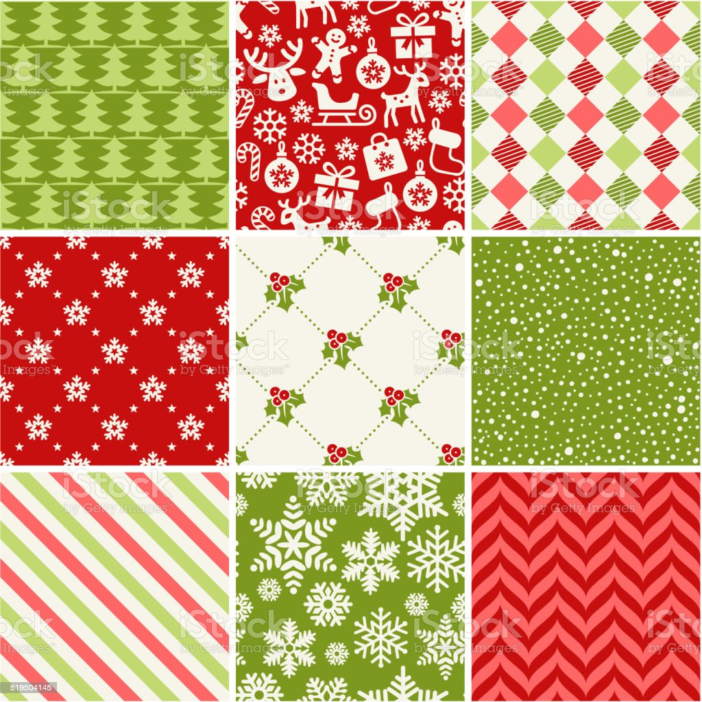 Set of seamless christmas patterns vector art illustration