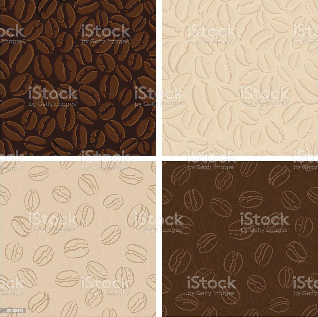 Set of seamless coffee patterns vector art illustration