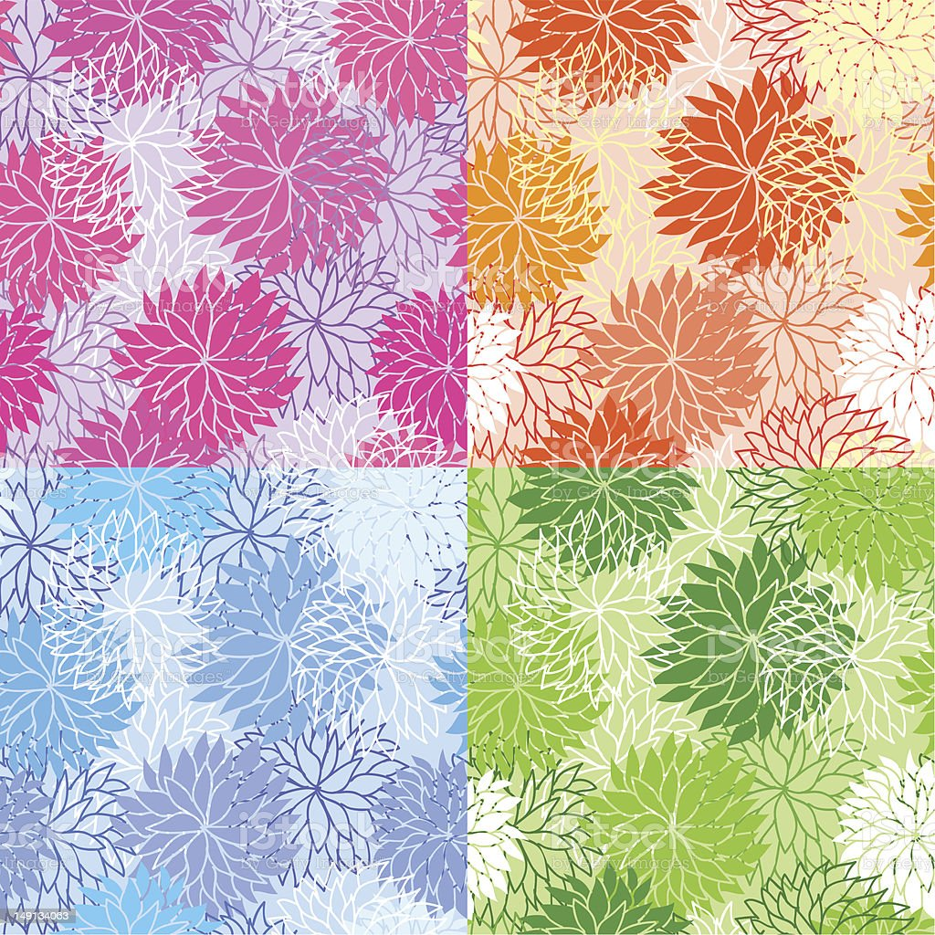 Set of seamless floral patterns royalty-free stock vector art