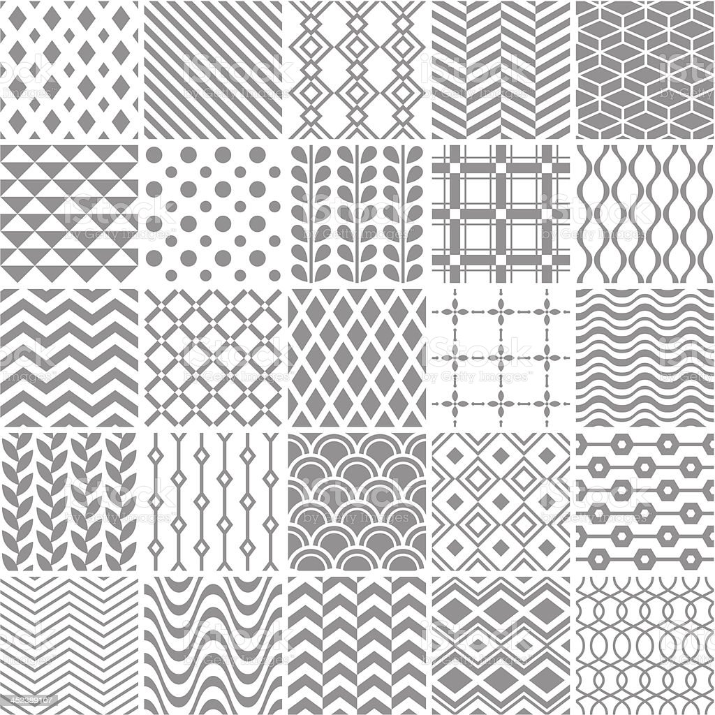 Set of seamless geometric patterns vector art illustration