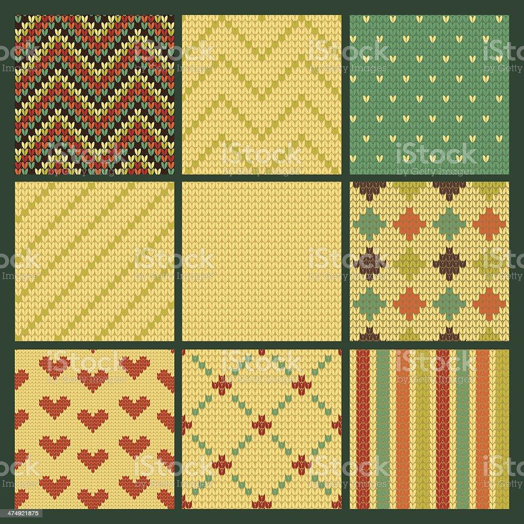 Set of seamless knitting patterns royalty-free stock vector art