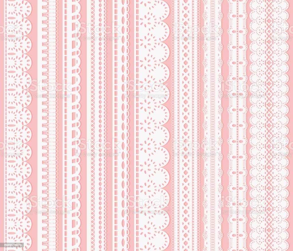 Set of seamless lattice borders. Ten white lace ribbons isolated on pink background. vector art illustration