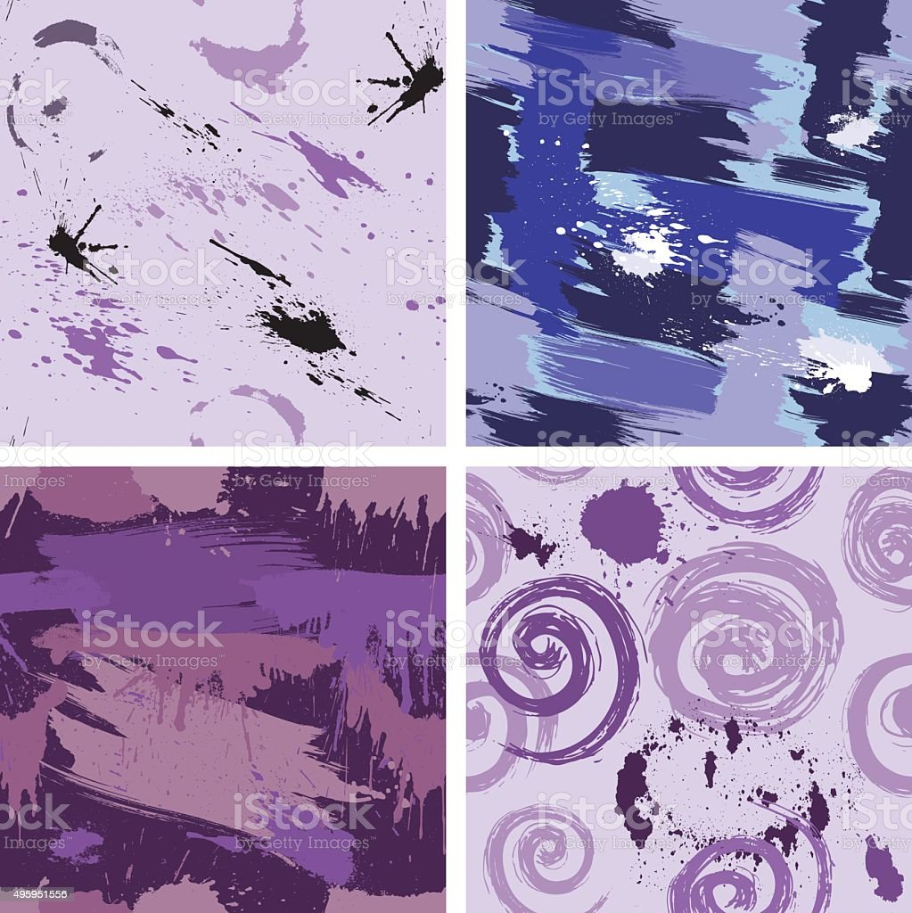 Set of seamless pattern with blots and ink splashes. vector art illustration