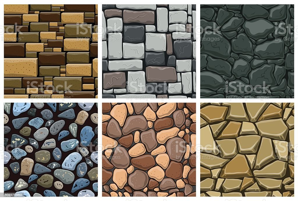 Set of seamless pattern with decorative stones vector art illustration