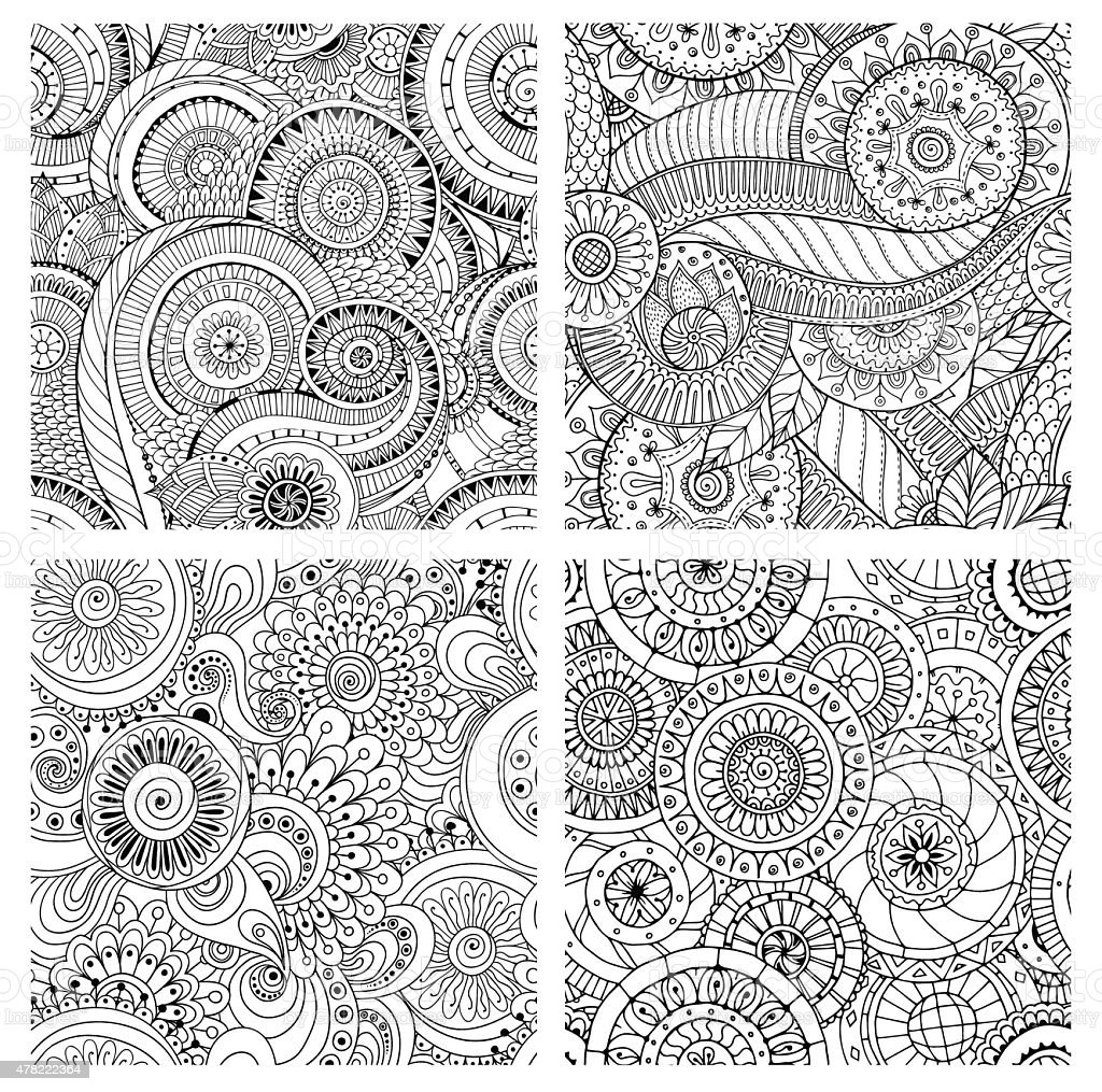 Set of seamless pattern with flowers. Ornate zentangle textures. vector art illustration