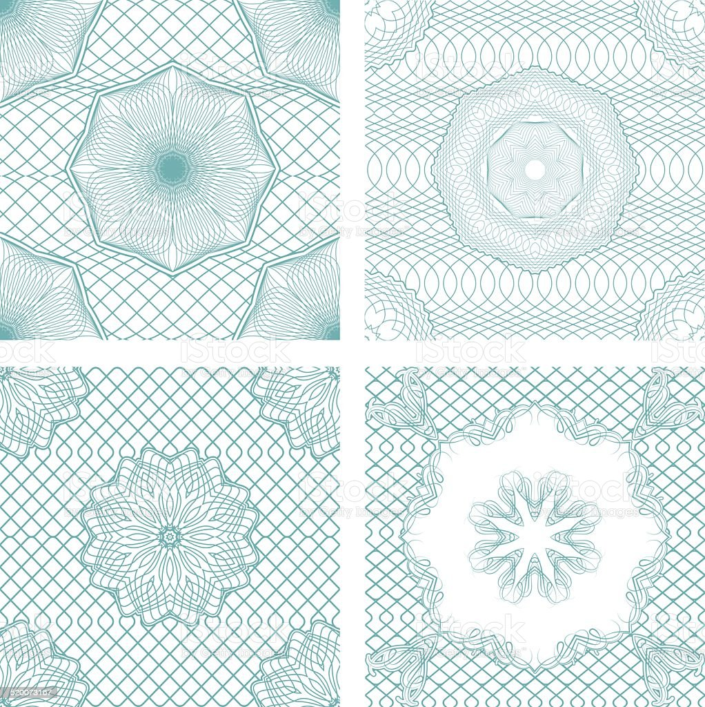 Set of seamless patterns - Guilloche ornamental Elements vector art illustration