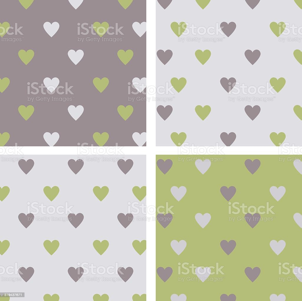 set of seamless patterns hearts royalty-free stock vector art