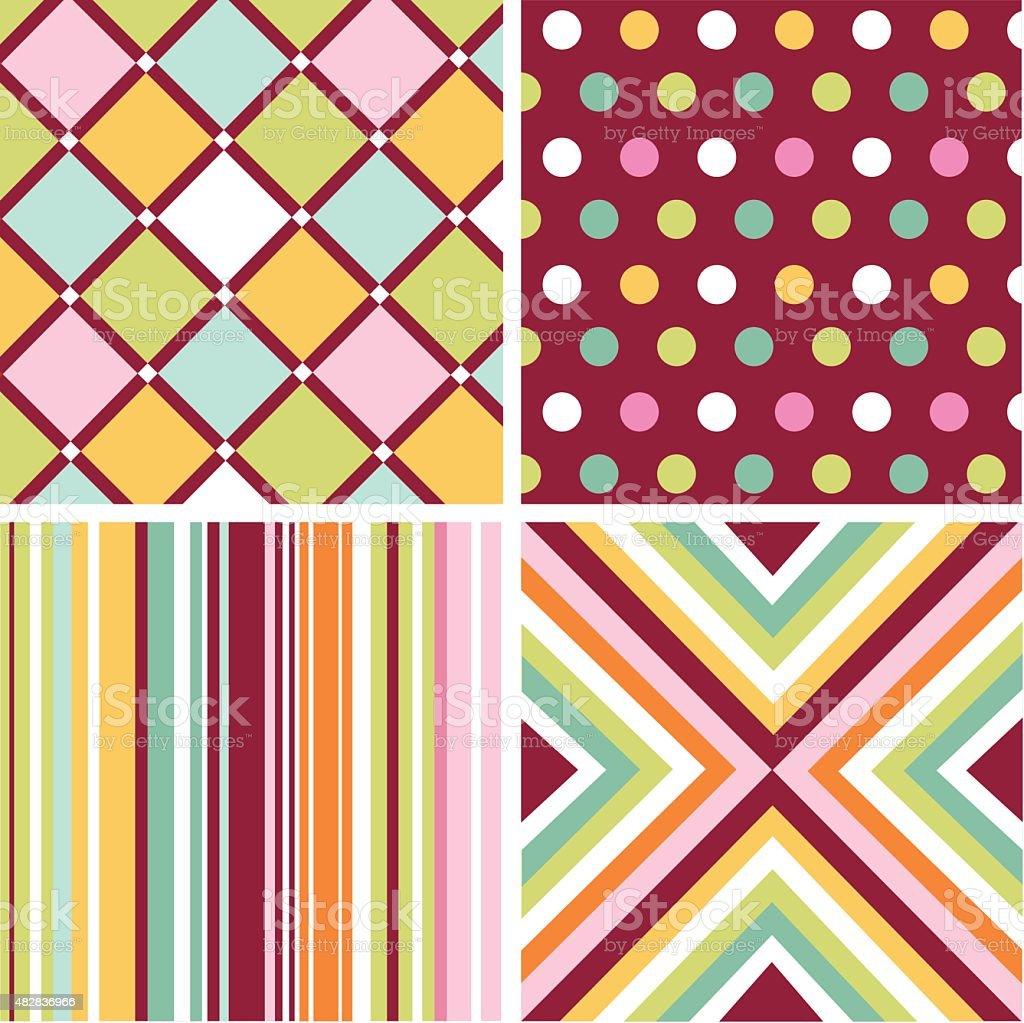 Set of seamless patterns vector art illustration