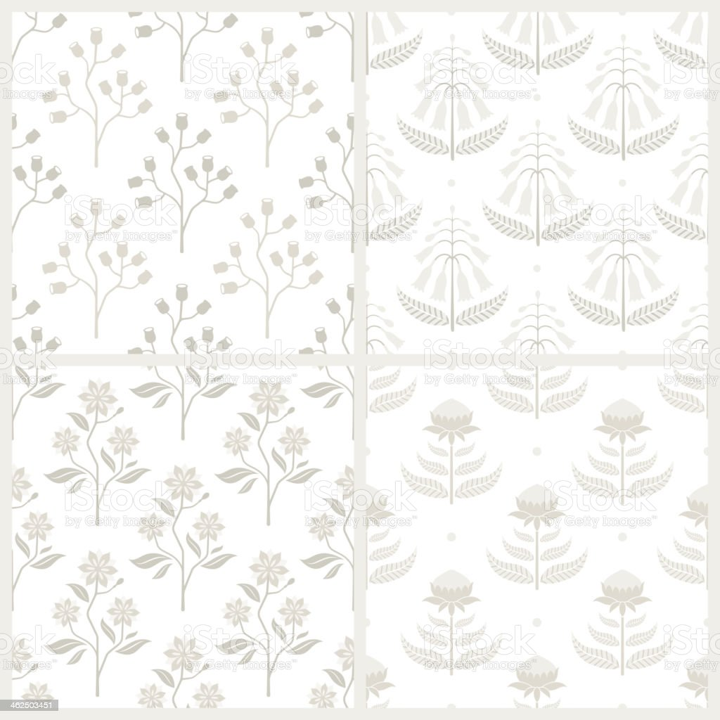 Set of seamless patterns with Australian flora vector art illustration