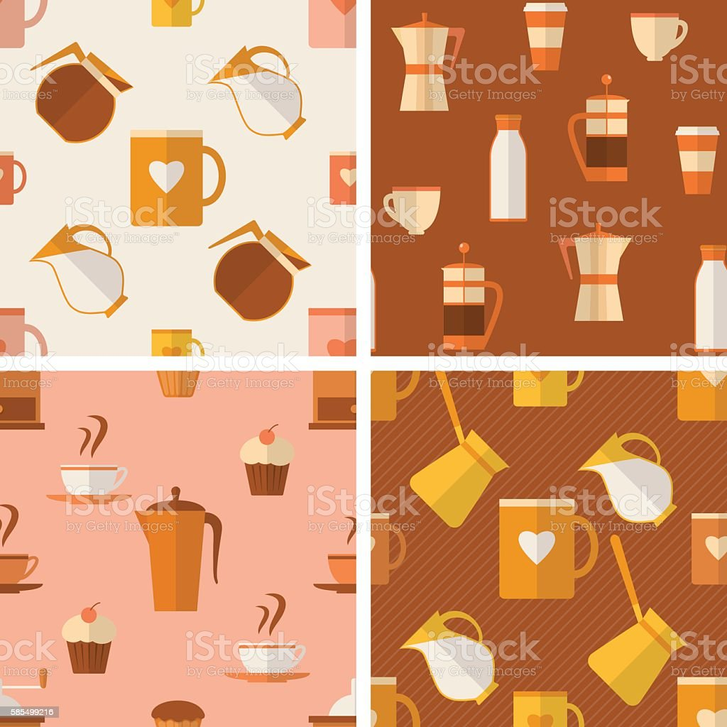 Set of seamless patterns with coffee items vector art illustration