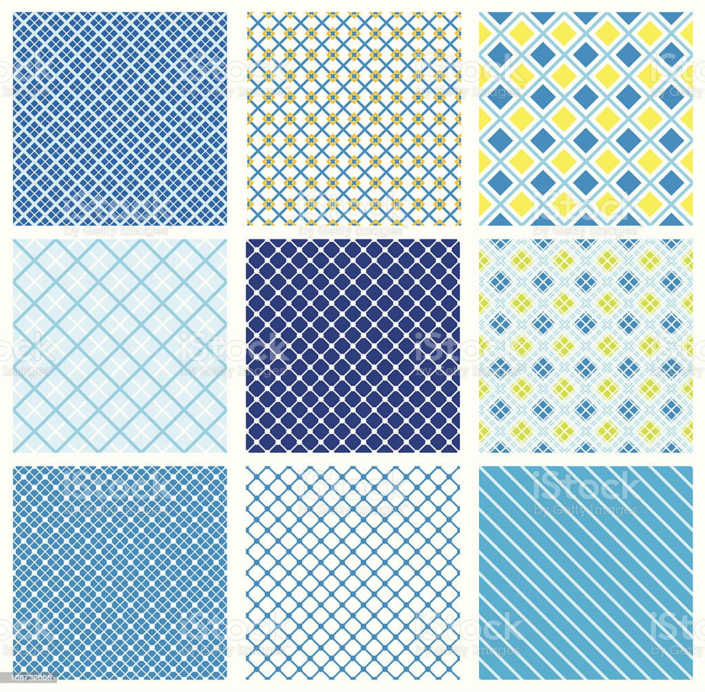 set of seamless patterns with fabric checked textures royalty-free stock vector art