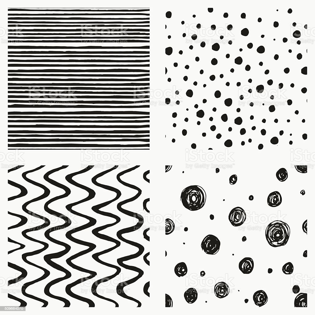 Set of seamless patterns with striped, confetti, circles, spots backgrounds. vector art illustration