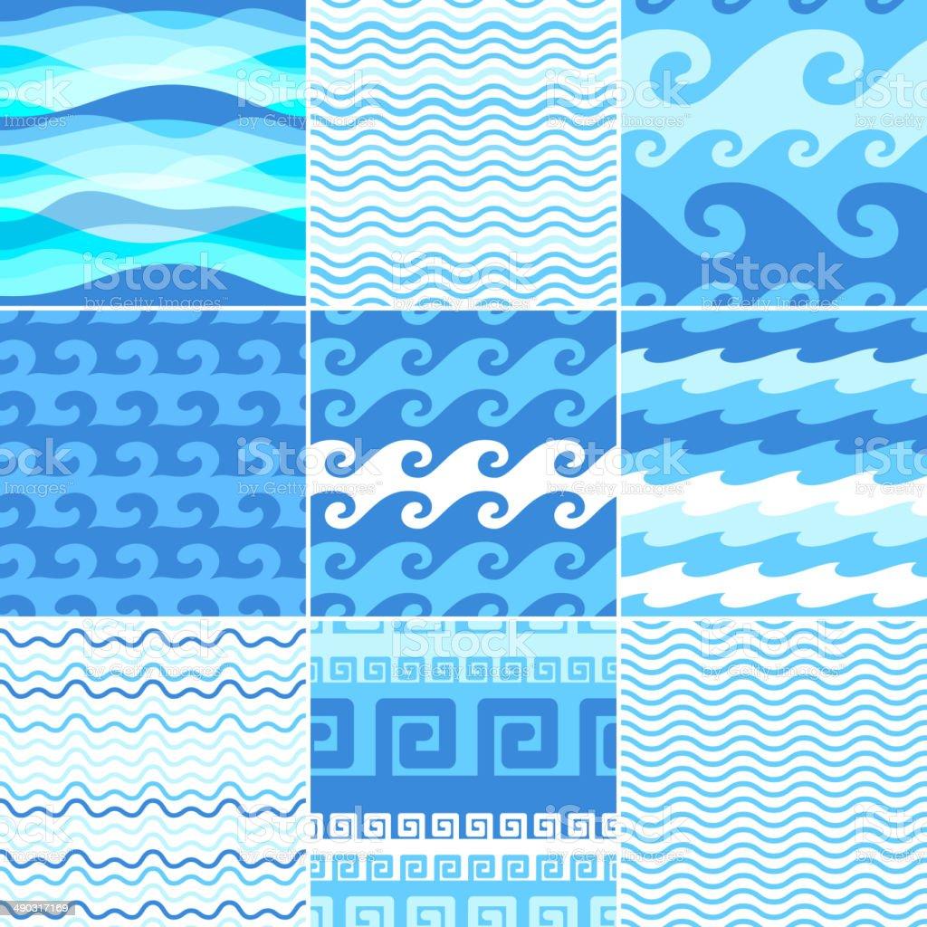 Set of seamless sea waves patterns. vector art illustration