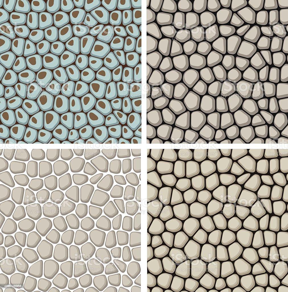 set of seamless stone patterns vector art illustration