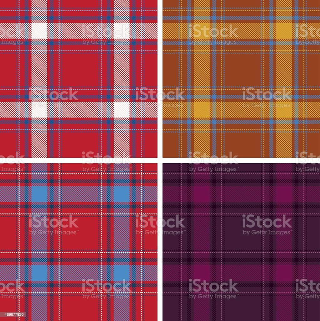 Set of seamless tartan patterns vector art illustration
