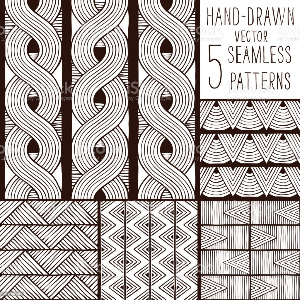 Set of seamless vector patterns. vector art illustration