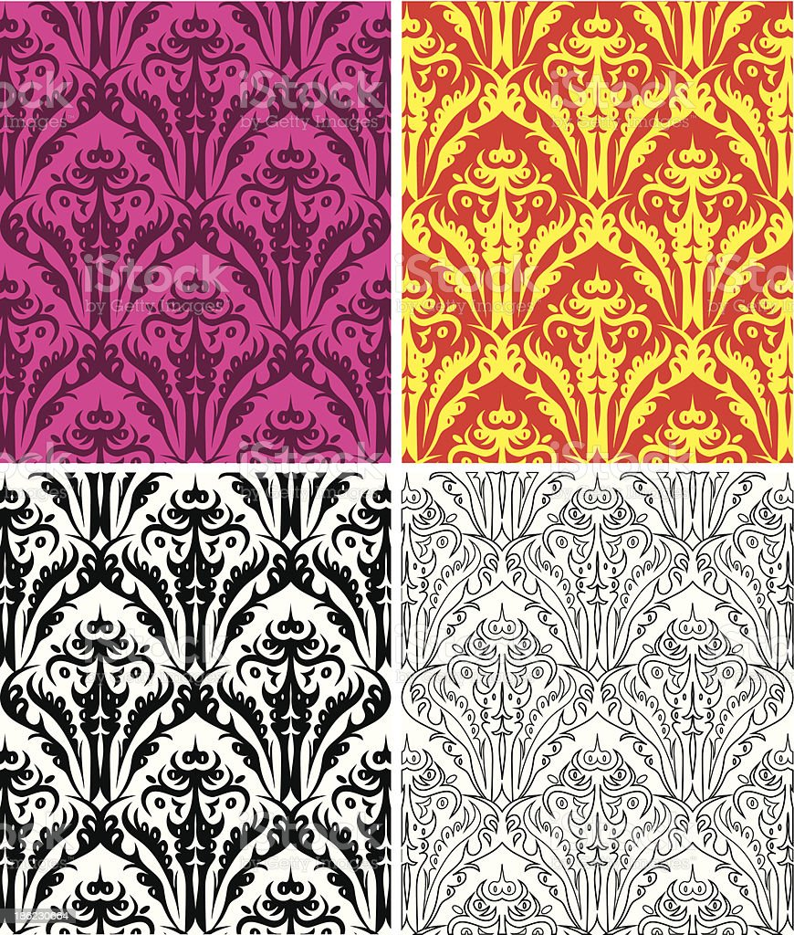 set of seamless vintage backgrounds royalty-free stock vector art