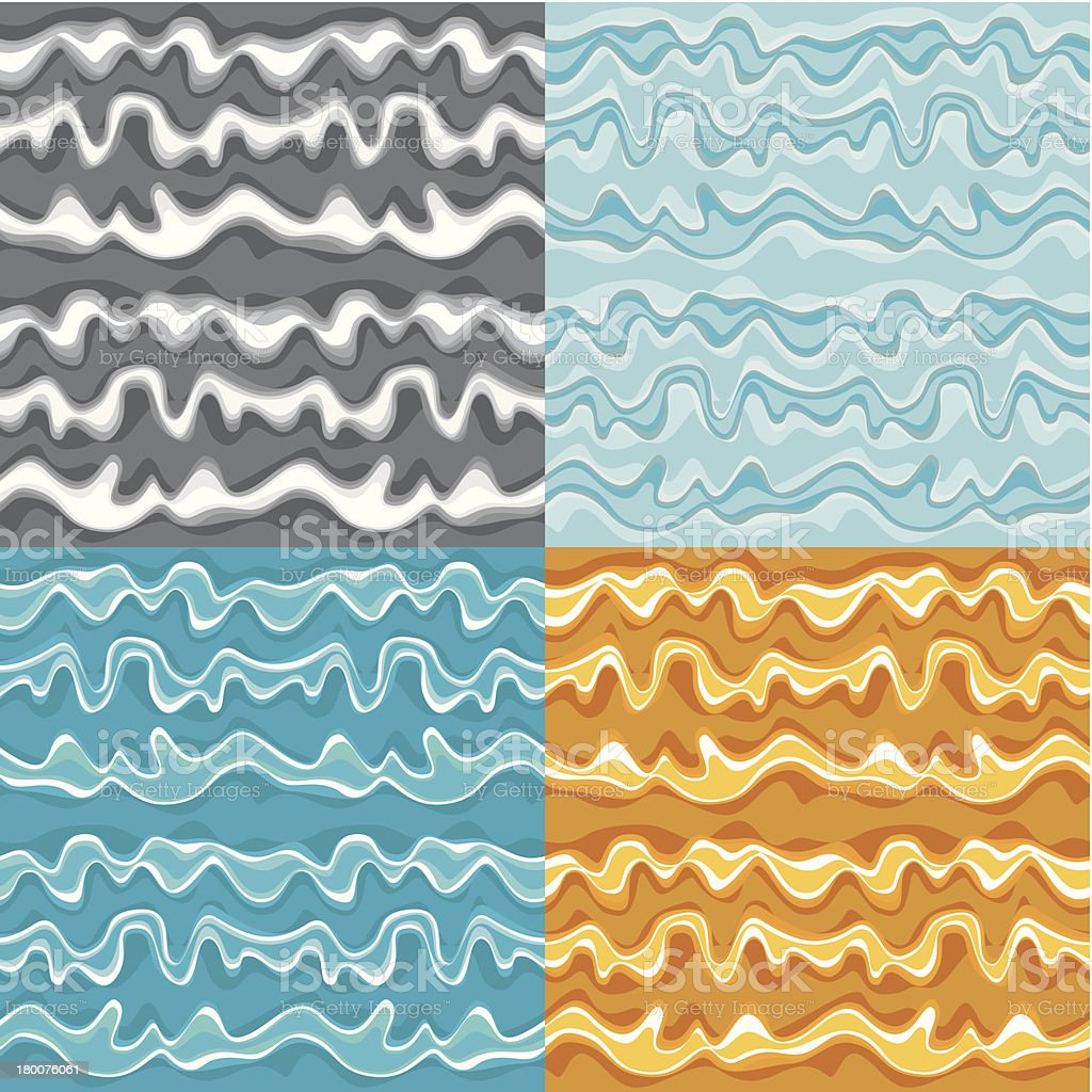 Set of seamless wave patterns royalty-free stock vector art