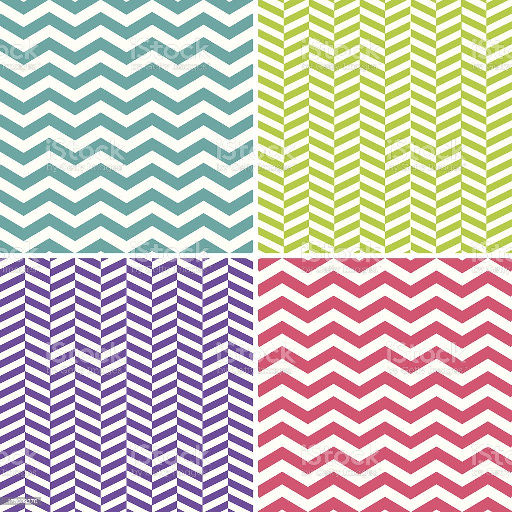 Set of Seamless Zigzag (Chevron) Patterns royalty-free stock vector art