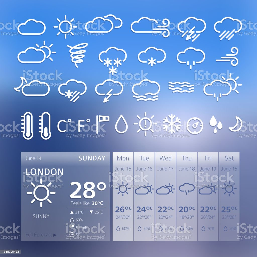 Set of seather icons and widget. vector art illustration