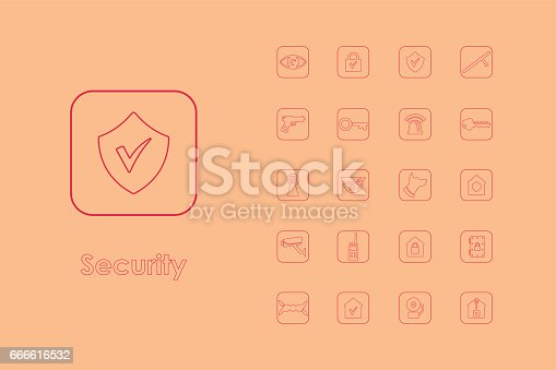 Set Of Security Simple Icons Stock Vector Art 666616532 Istock