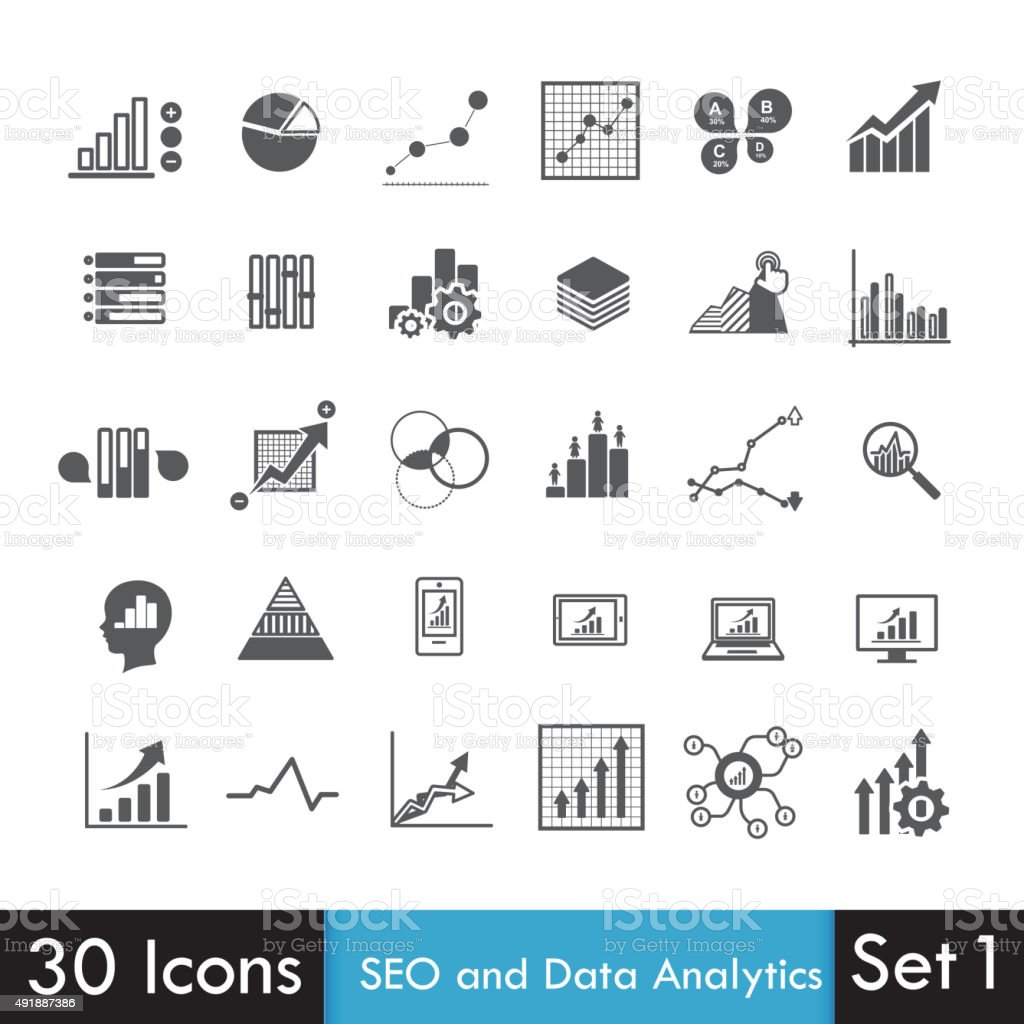 Set of SEO and Analytics icon isolated on white background vector art illustration