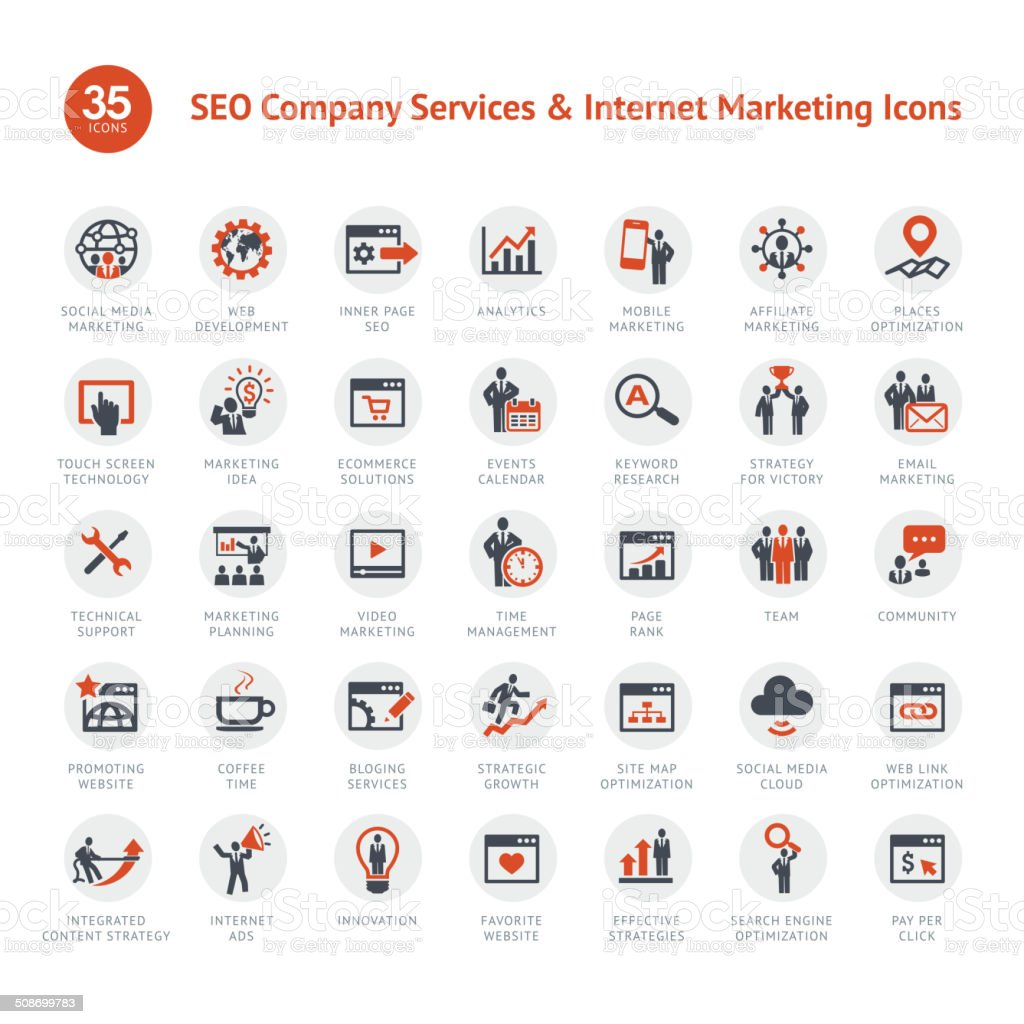 Set of SEO and Marketing icons vector art illustration