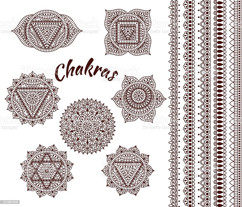 Set of seven chakras vector art illustration