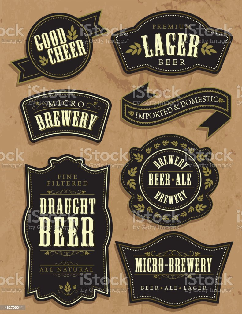 Set of seven vintage retro beer labels with sample text vector art illustration